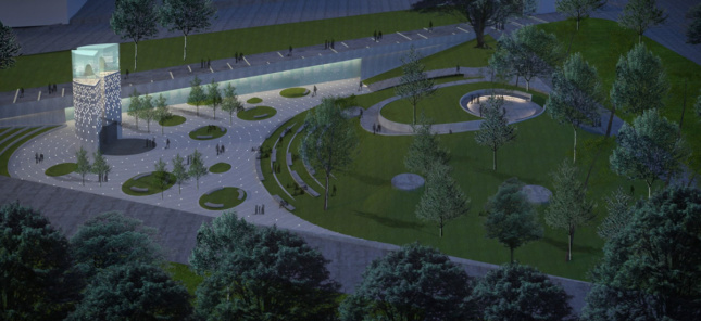 Rendering of design for MLK Memorial in Boston