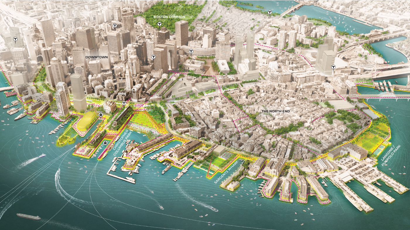 A diagram of Boston Harbor with a number of shoreline extensions proposed