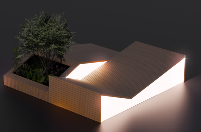 Rendering of a gabled timber pavilion in front of a V-shaped structure