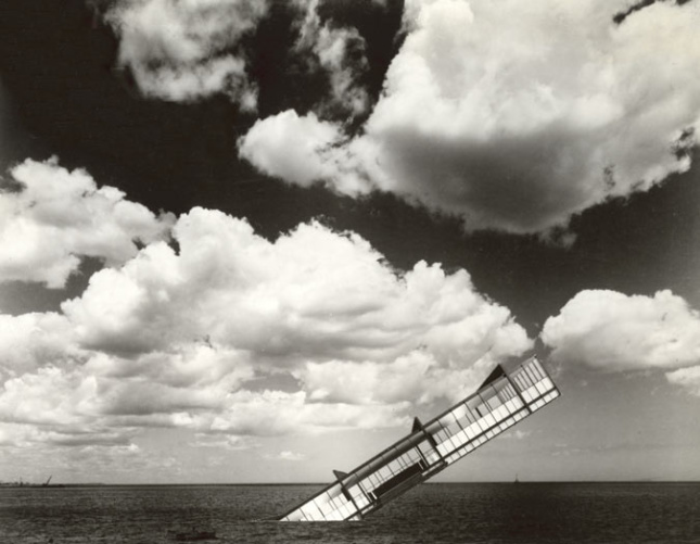 Image of Stanley Tigerman's Titanic, a sinking building in a field and clouds