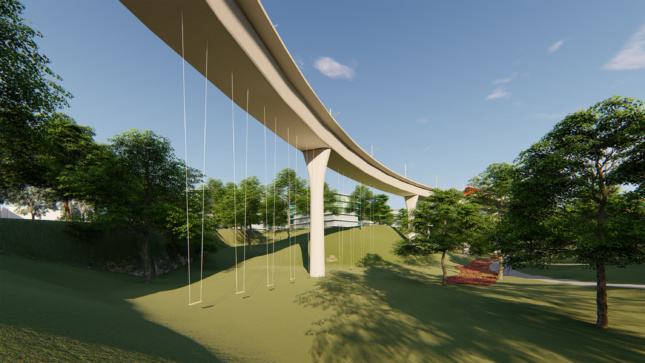 Rendering of light rail infrastructure with swings underneath