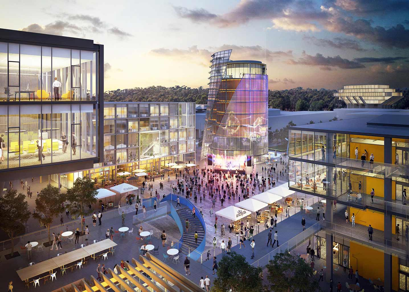 Rendering of campus plaza with colorfully-lit buildings in the evening, and a conical tower at the center