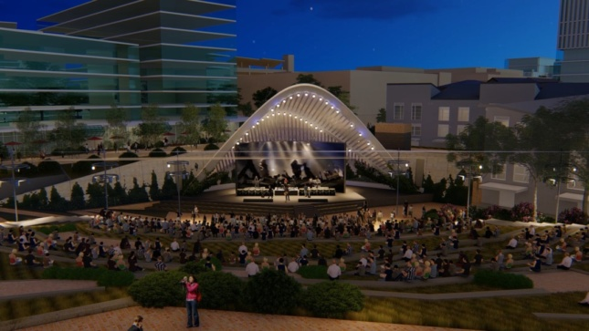 Night rendering of an outdoor amphitheater with crowd