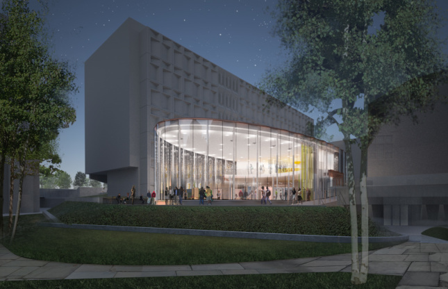 Rendering of a circular, clear glass pavilion against boxier grey buildings
