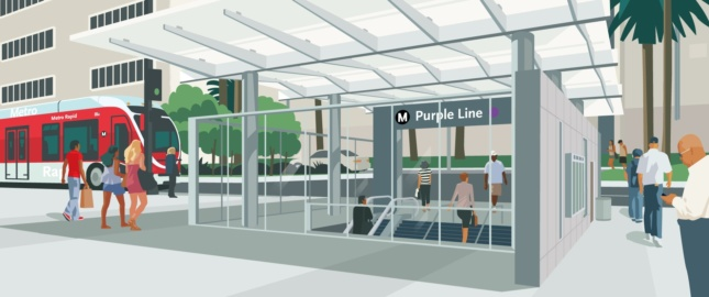 Rendering of a planned Purple Line metro stop