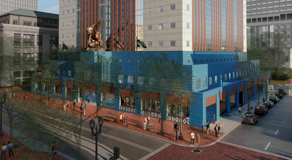Rendering of the base of a newly-renovated Portland Building