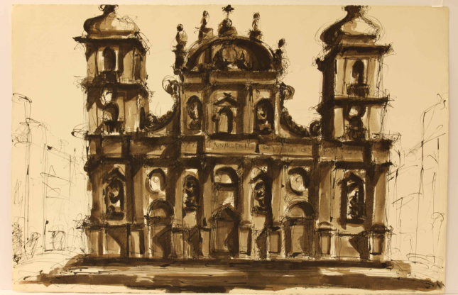 Drawing of a multifaceted facade in brown wash