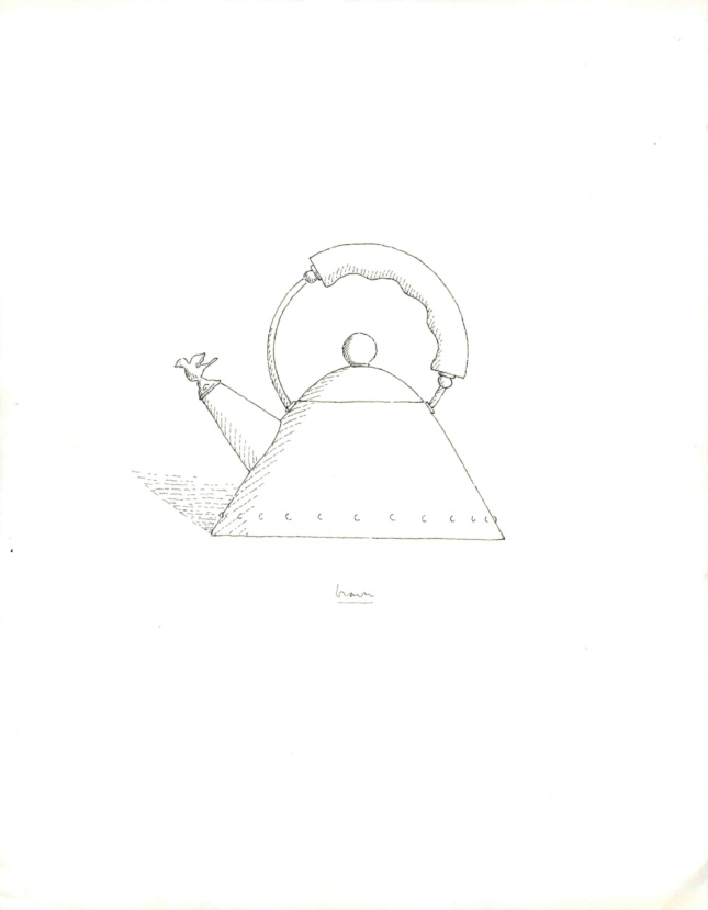 Black-and-white line drawing of a triangular teakettle