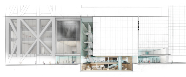 Cross section of a multistory art museum