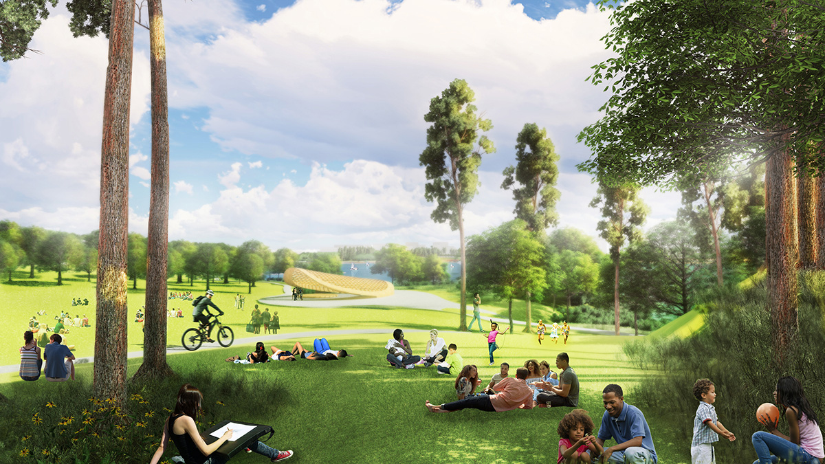 Rendering of parkland lawn with yellow performance hall structure