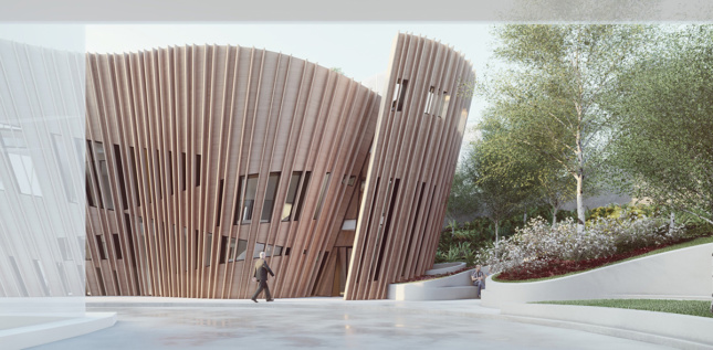 Rendering of undulating small building with timber-slat exterior and cutout with entrance