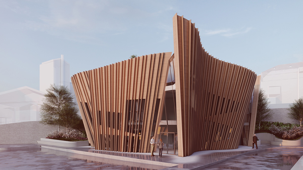 Rendering of undulating small Maggie's Centre with timber-slat exterior and cutout with entrance