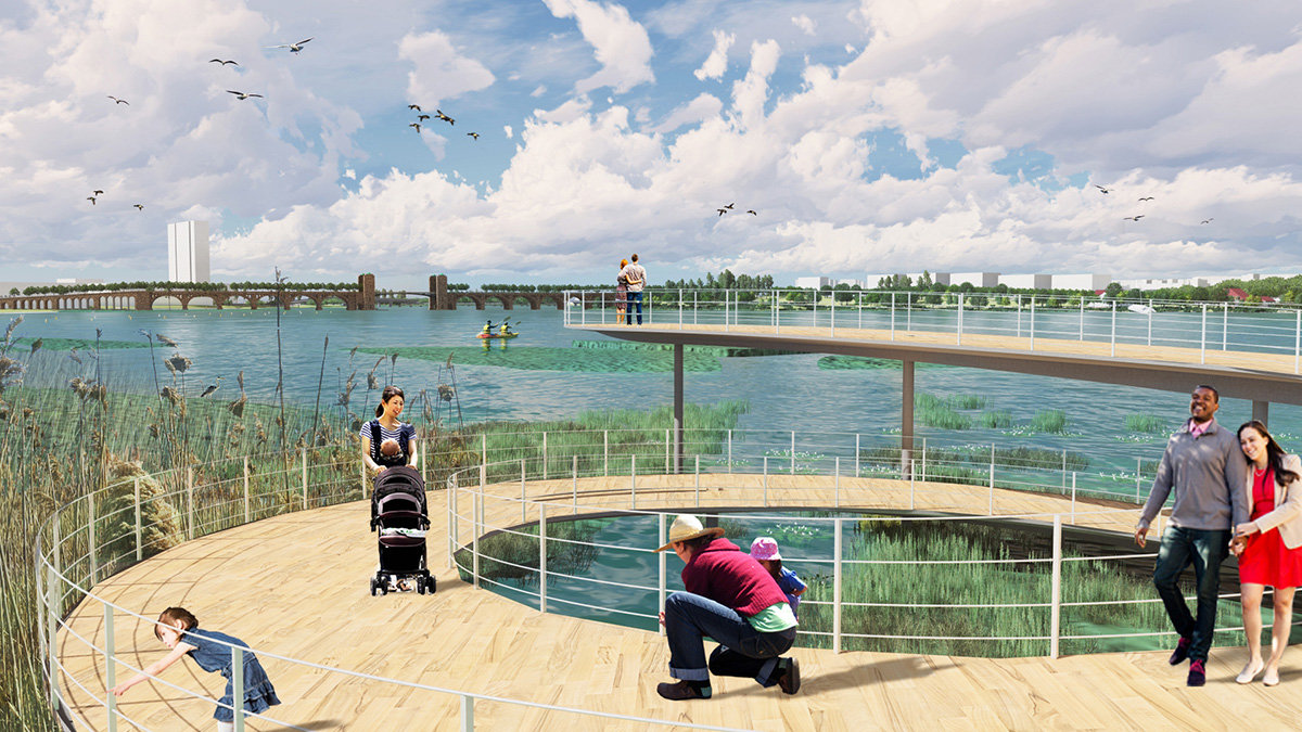Rendering of waterfront boardwalk with marshland surrounding in Middle Branch