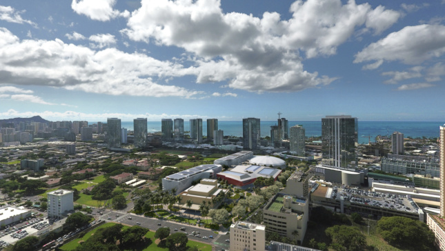 Aerial rendering of a sprawling arts complex on Hawaii