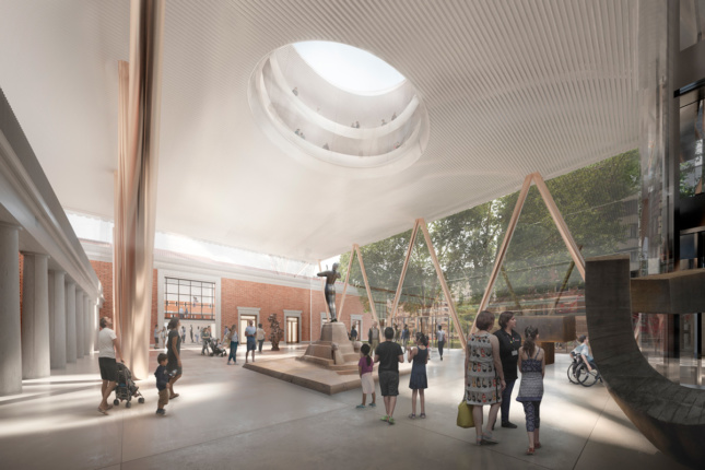 Rendering of interior, glass-clad atrium with massive skylight