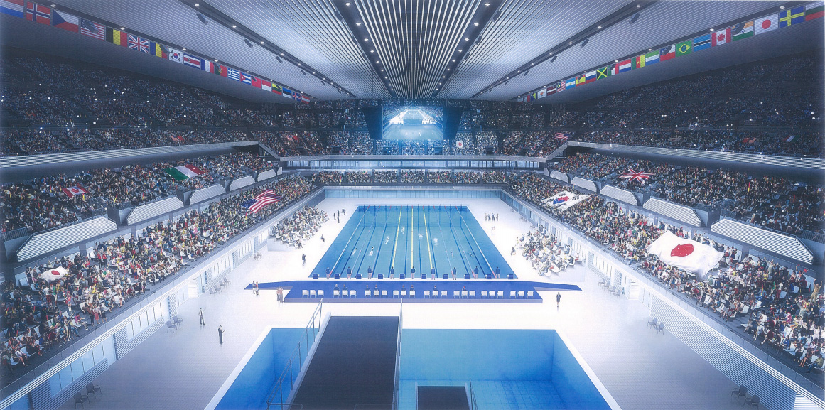 Interior rendering of swimming complex with diving pool and swimming pool, in preparation for the Tokyo 2020 Summer Olympics