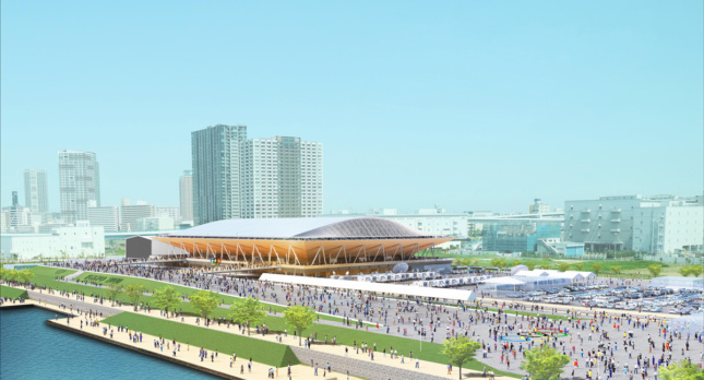 Exterior Rendering of people surrounding plaza and promenade surrounding low-hanging stadium with crisscross poles on facade