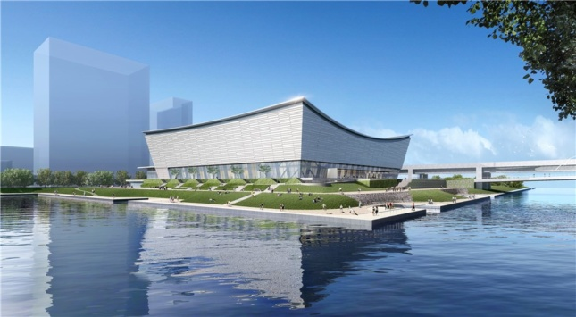 Exterior rendering of silver building with inverted roof on parkland surrounded by water