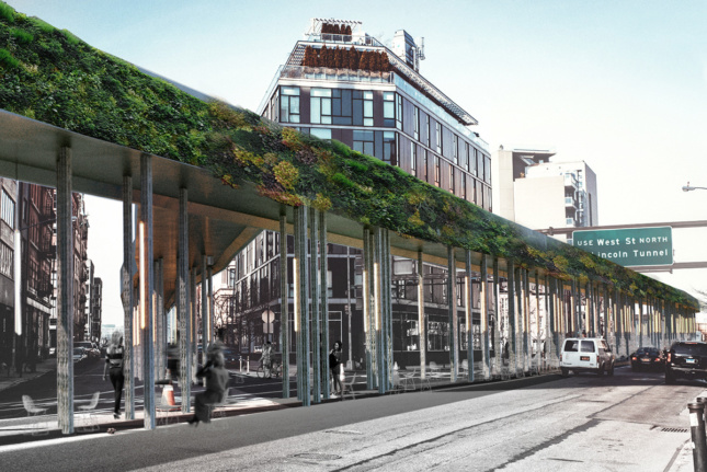 Rendering of Canal Street with elevated bike way with green shrubbery on sides