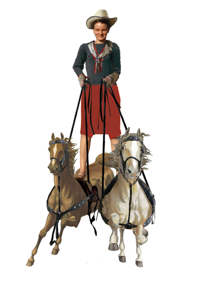 A woman standing on top of two horses