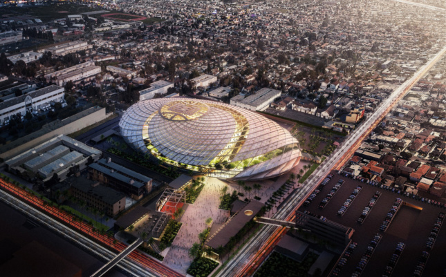 Aerial rendering of the new Clippers arena, which features a distinctive net-like facade