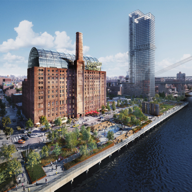 View of Domino Sugar Factory, a brick factory conversion, with a glass topper