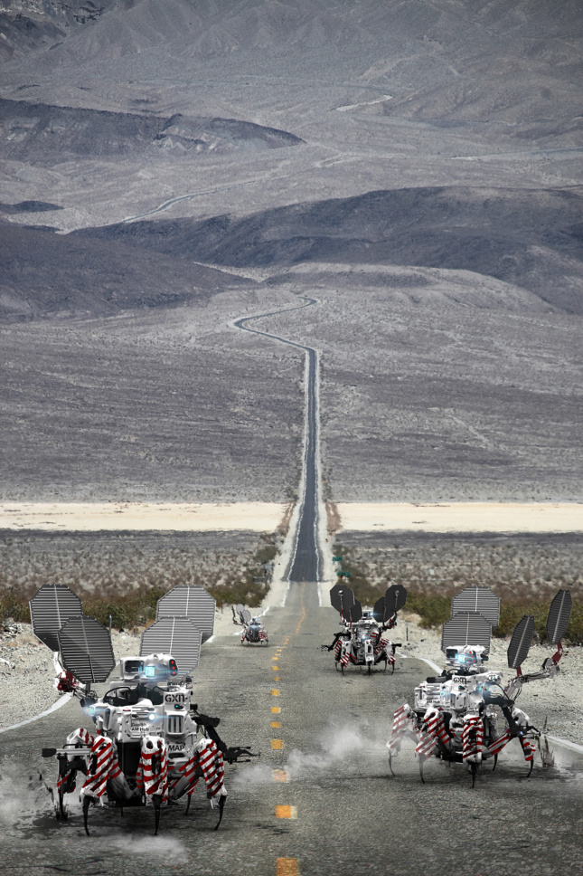 Spider-like robots march down a stretch of desert road.