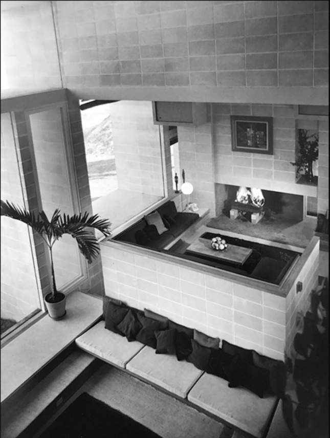 Black and white photo of the interior a house