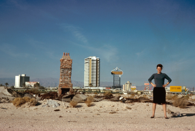 A young Denise Scott Brown in front of the old Vegas strip