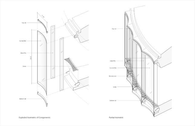 Isometric diagram of the glass facade with scalloped panels
