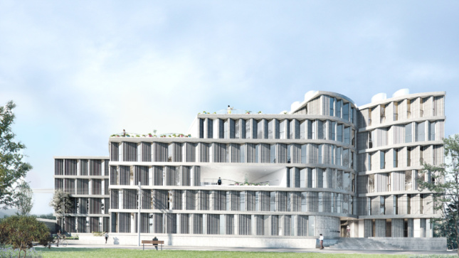 Rendering of a low-slung white brick building in Mexico, designed by SO - IL
