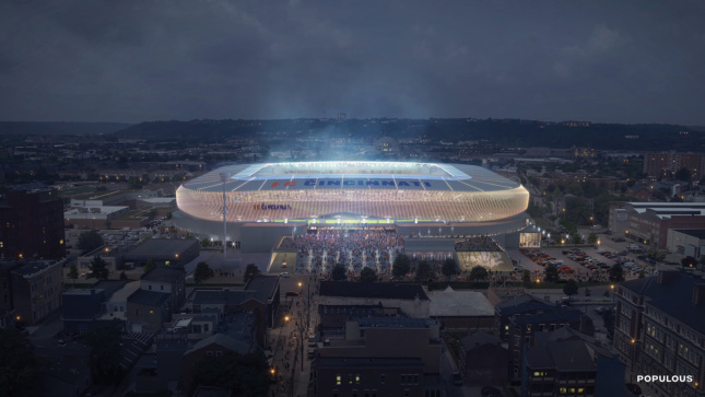Rendering of a stadium at night with mist in the center.