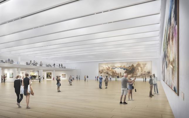 Rendering of new gallery space with white, slats on ceiling in the Bilbao Fine Arts Museum