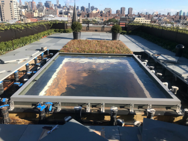 Installation view of a rooftop skylight