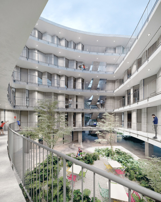 Rendering of an interior courtyard within a round building