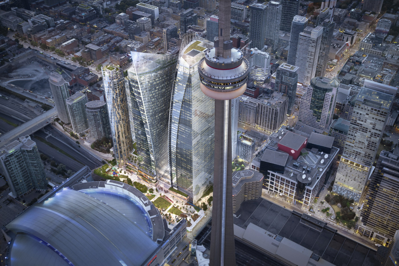 Rendering of three glass-clad towers in Toronto under CN Tower
