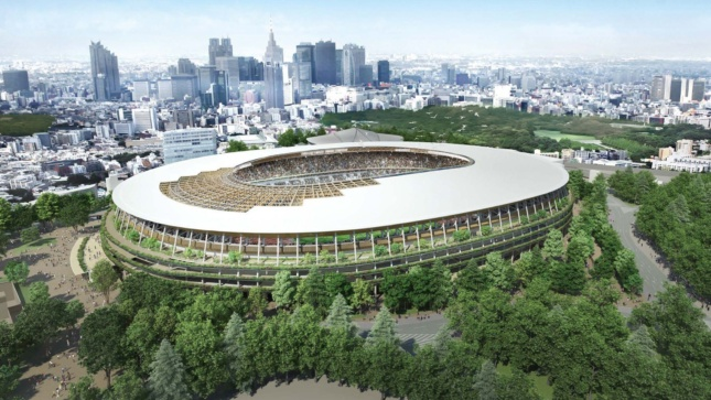 Exterior rendering of timber-clad stadium in a forest of trees outside center of city