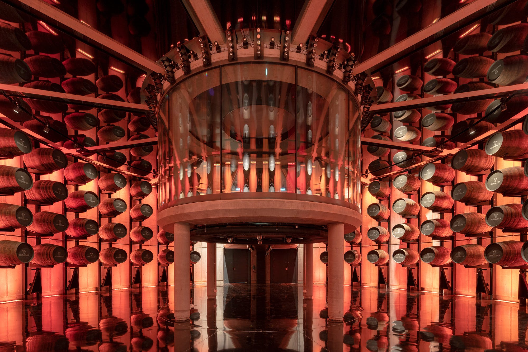 Interior of a room full of whiskey barrels, a project on the Stirling Prize shortlist