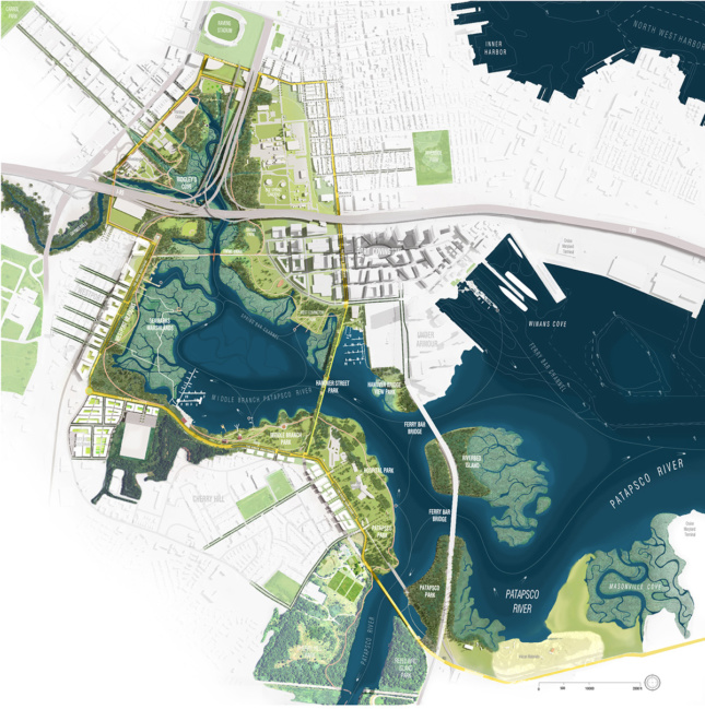 Diagram of South Baltimore bay and plan to revamp it with new landscape