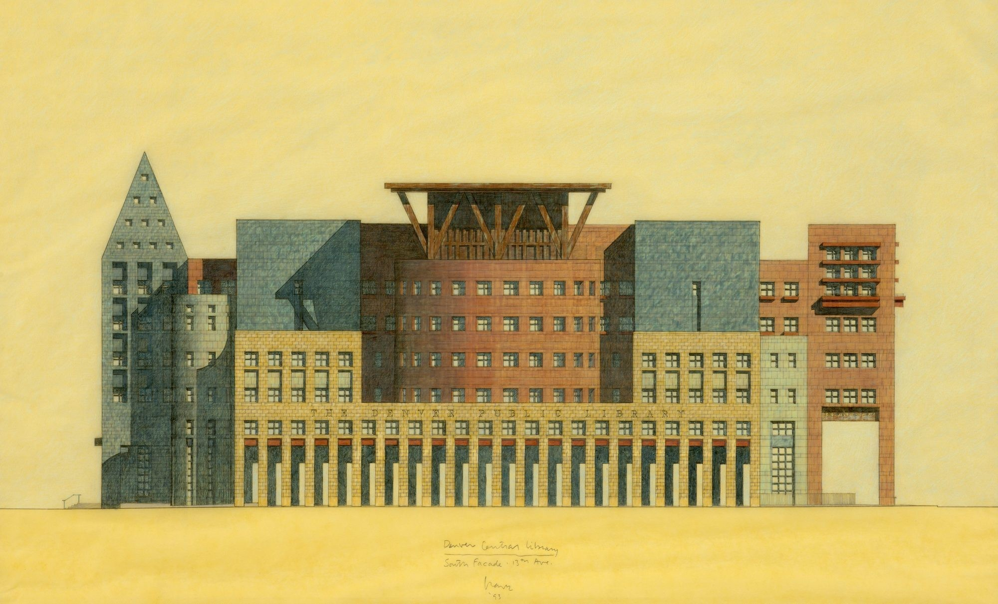 A Michael Graves drawing of a multicolored building on a yellow wash