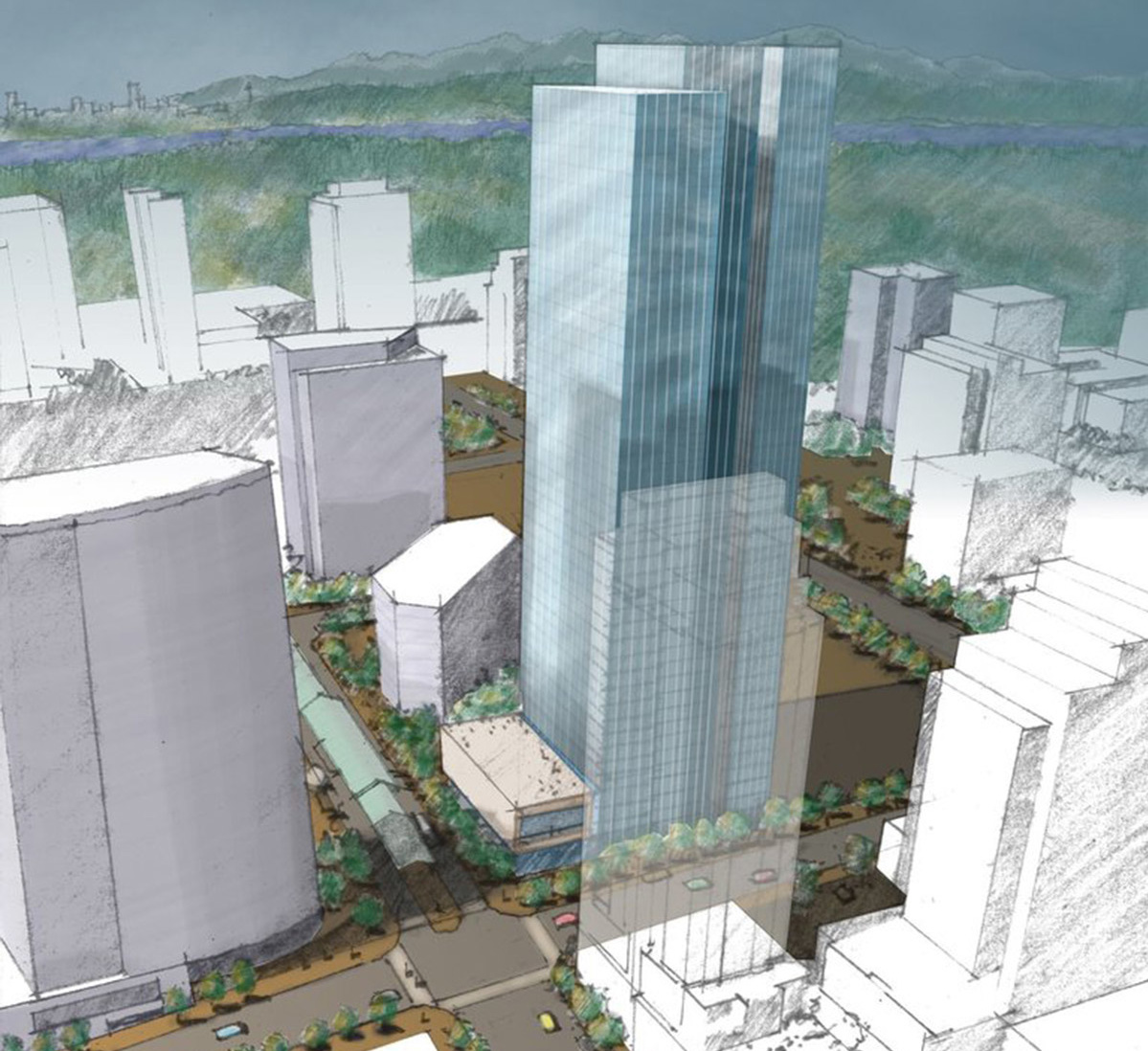 Rendering of a tall tower in opaque blue outline, the possible future site of Amazon offices