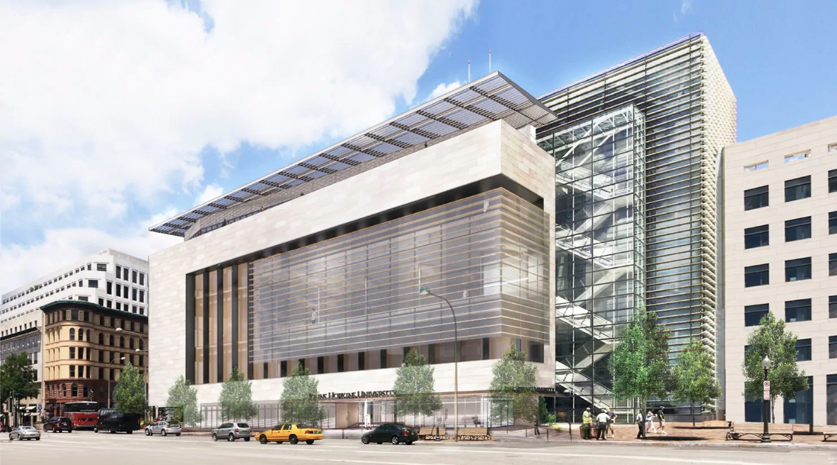 Rendering of the Newseum in Washington, D.C., an elongated glass and limestone box