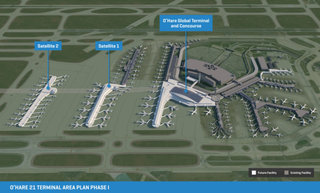 """Rendering of O'Hare International Airport with two adjacent linear structures and a """"Phase I"""" caption"""