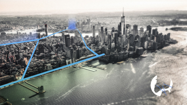 aerial black and white photo of Lower Manhattan with lines showing busy bike routes