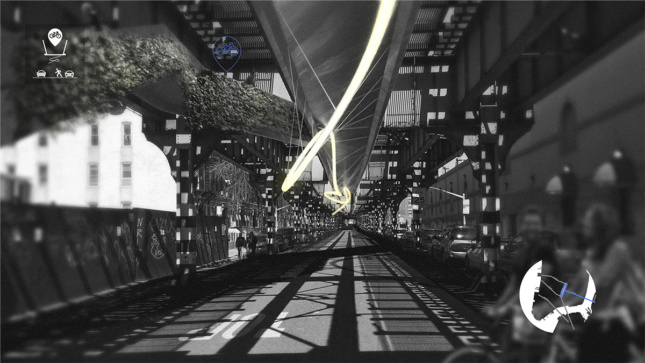 black and white image of underneath elevated train tracks with suspended structure used as bike path