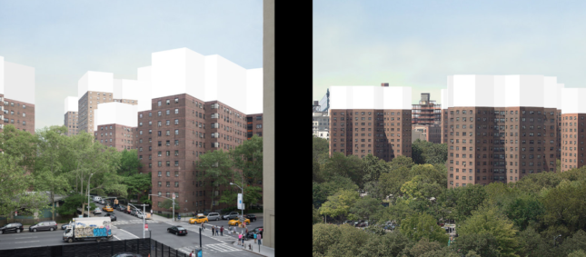 Rendering of squat public housing buildings with additional height massed on top