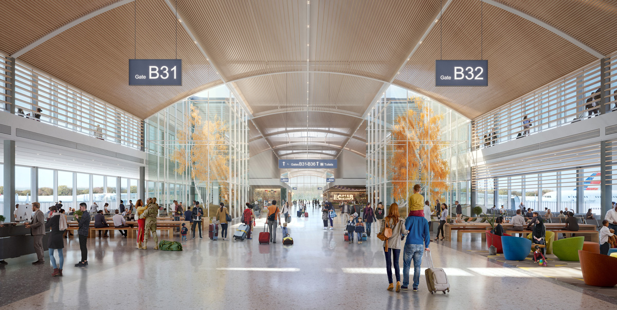 Rendering of a concourse with nature and timber ceiling