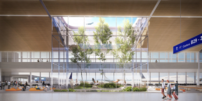 Rendering of nature-filled airport concourse