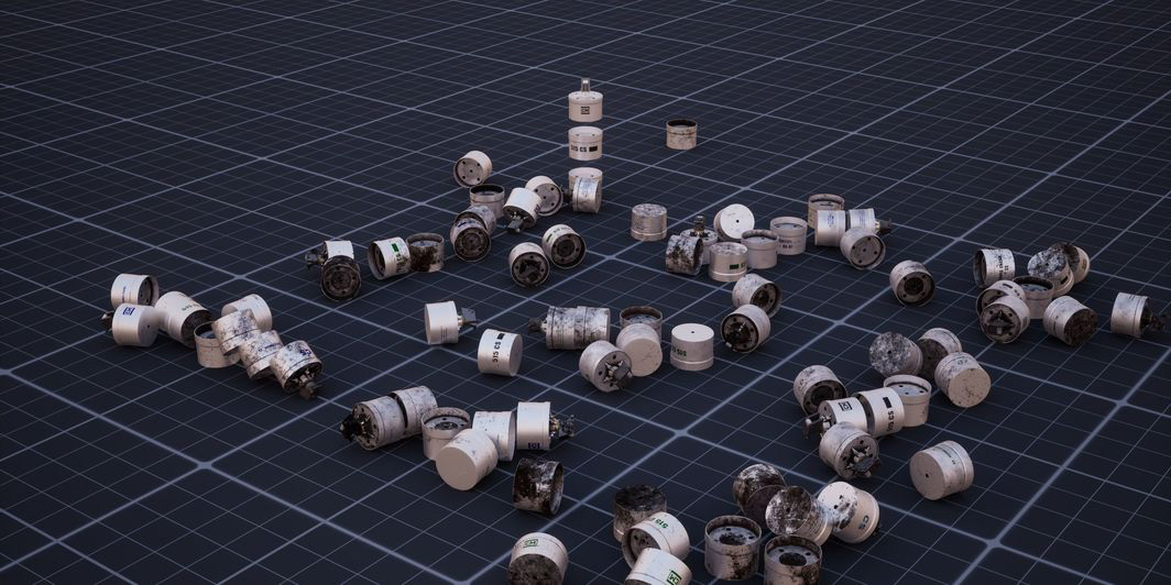 Still of grenade canisters 3D rendered and strewn across a digital grid floor as part of the Whitney Biennial