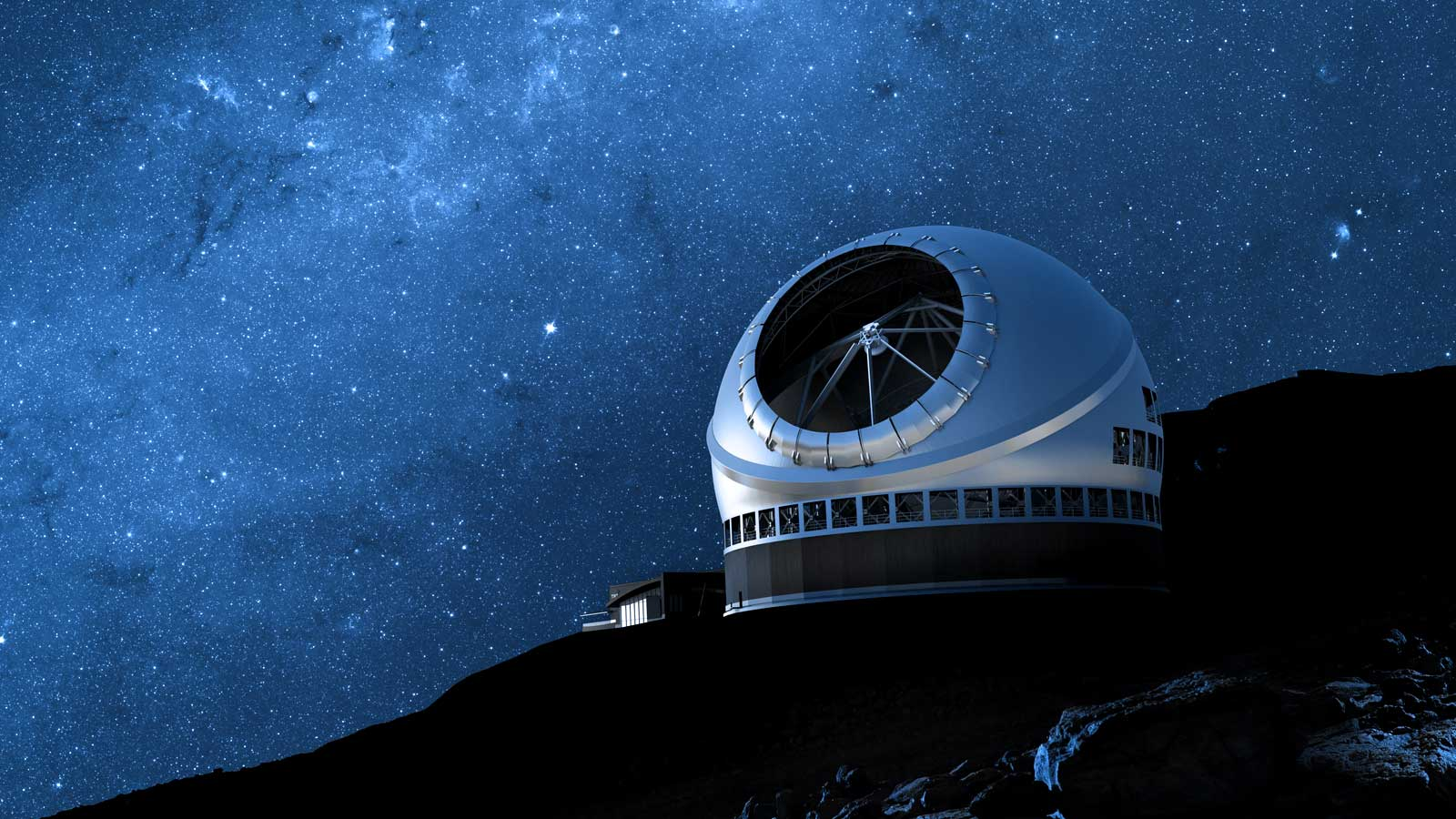 Rendering of a giant observatory against a starry sky; the Thirty Meter Telescope
